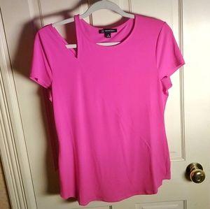 INC Asymmetrical Split Shoulder Hot Pink Top